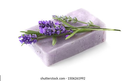 Natural lavender soap with lavender flowers isolated on white background. Selective focus with shallow DOF
