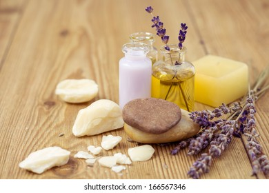 Natural Lavender Spa Treatment on Wooden Table