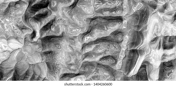 natural level curves, allegory, abstract naturalism, Black and white photo, abstract photography of the deserts of Africa from the air, aerial view, contemporary photographic art,