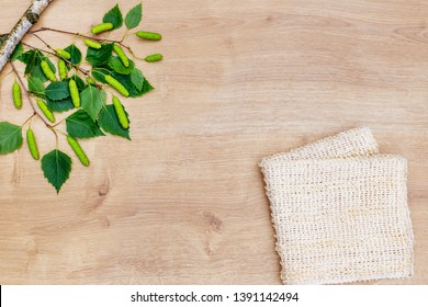 Natural loofah and birch green leaves, flat lay, top view.