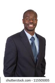 Natural Looking Smiling Young African American Male Businessman on Isolated Background