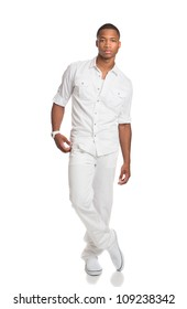 Natural Looking Young African American Fashion Male Model on Isolated Background