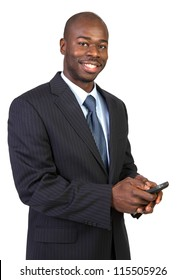 Natural Looking Young African American Male Texting on Isolated Background