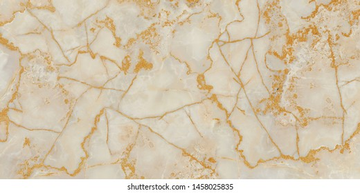 Natural luxury marble texture with Golden veins, ivory onyx marbel texture, polished quartz stone background, golden wall texture abstract background, Yellow glittering stone walls texture background.