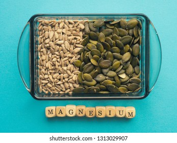 Natural magnesium supplier, sunflower and pumpkin seeds in a bowl, view from above