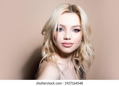 Natural makeup girl. Portrait of beautiful woman. Beauty care. Natural skin, skin care cosmetics