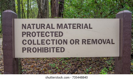 Natural material protected collection or removal prohibited sign