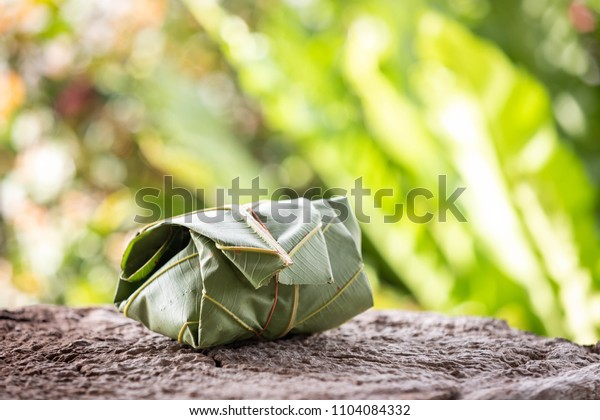natural materials packaging on old wooden table, Dipterocarpus tuberculatus