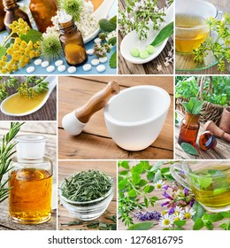 Natural medicine and herbs collage