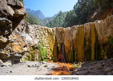 Natural mineral colors of the Cascada de Colores, La Palma