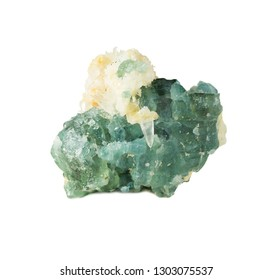 Natural mineral rock specimen - green-blue apatite gemstone from Slyudyanka district, Russia, isolated on white background. Apatite is the raw material for the production of phosphate fertilizers