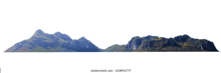 natural mountain rock isolate on white background