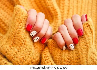 Natural nails, gel polish. Nail art design for the fashion style.