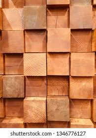 Natural North America Golden Brown square wooden blocks randomly shuffling patterns with wood year rings, dendrochronology, background wallpaper texture on each of the block.
