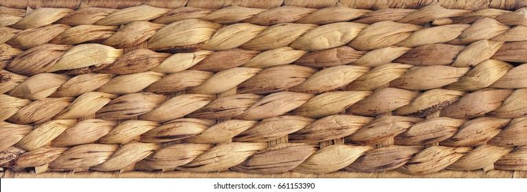 Natural Ocher Brown Raffia Place Mat Coarse Plaiting Grunge Texture