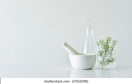 Natural organic botany and scientific glassware, Alternative herb medicine, Natural skin care beauty products, Research and development concept.