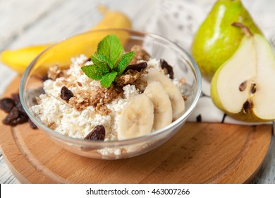 Natural organic cottage cheese for healthy breakfast