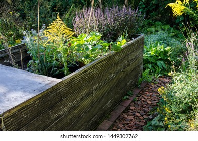 Natural Organic Gardening With Permaculture Showing A Raised Bed And Seven Classical Layers In The Early Summer Sun