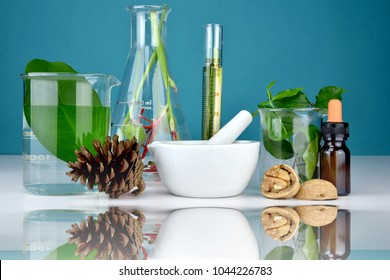 Natural organic medicine and healthcare, Alternative plant medicine, Mortar and herbal extraction in laboratory glassware.