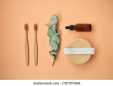 Natural organic spa cosmetics products, eco-friendly bathroom accessories, eucalyptus leaves. Spa background. Skin care concept on white background. Flat lay. Top view.