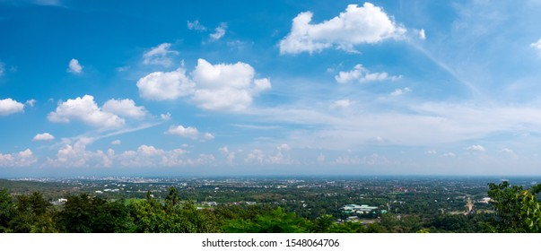Natural panoramic view with blue sky