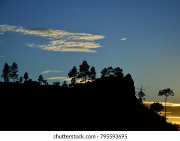 Natural park of Pilancones with splendid blue sky and clouds at sunset, Gran canaria, Canary islands