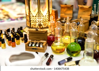 Natural perfume with essential oils in glass bottles