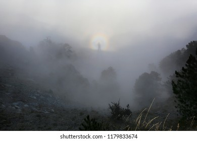 Natural phenomenon - Brocken's ghost, arising in the mountains in a strong fog