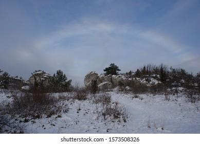 Natural phenomenon called Fog bow or a white rainbow