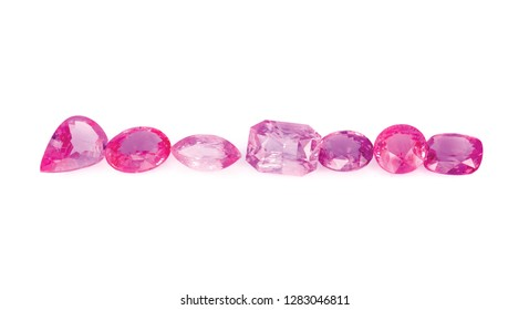 Natural Pink Sapphire gemstones on white background
