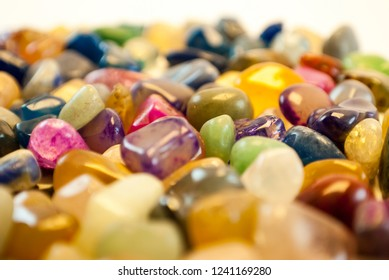Natural Polished Gemstone Semi Precious Rocks Colorful Background Texture Close Up Phot
