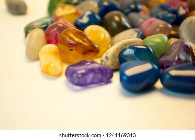 Natural Polished Gemstone Semi Precious Rocks Colorful Background Texture Close Up Phot