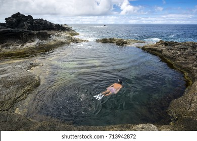 Natural pool at Mosteiros beach (praia Mosteiros), Sao Miguel, Azores Islands, Portugal
