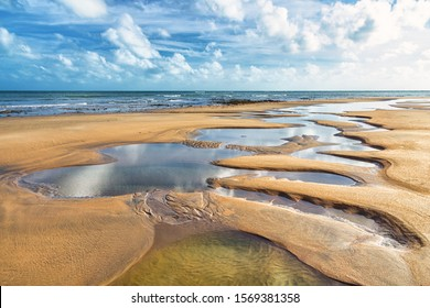 Natural Pools Due to Tide in the Beach of Caetanos (Amontada), Ceará, Northeast of Brazil