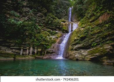 Natural pools and small waterfall with clear blue water at Xilitla, San Luis Potosí, México.