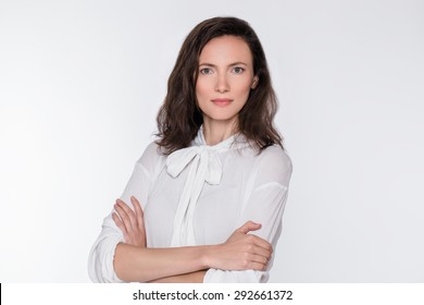 Natural portrait of positive middle-aged woman