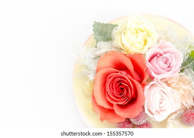 Natural preserved flowers and foliage on white background.