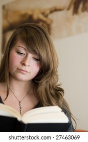 natural pretty polish young woman reading book