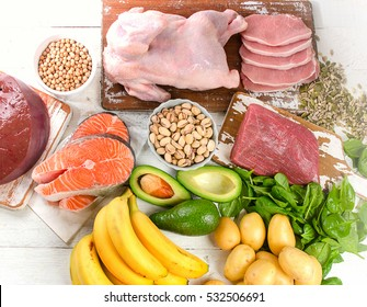 Natural products rich in vitamin B6. Healthy eating  concept. Top view