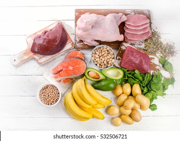 Natural products rich in vitamin B6. Healthy food concept. Top view
