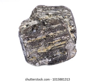 Natural pyrite cube from Peru, isolated on white background