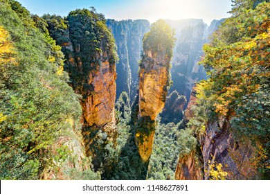 Natural quartz sandstone pillar the Avatar Hallelujah Mountain is 1,080-metre (3,540 ft) located in the Zhangjiajie National Forest Park, in the Wulingyuan Area, in northwestern Hunan Province, China.