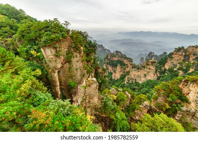Natural quartz sandstone pillars of the Tianzi Mountains (Avatar Mountains) in the Zhangjiajie National Forest Park, Hunan Province, China. Summer landscape.