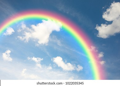 Natural rainbow and blue sky