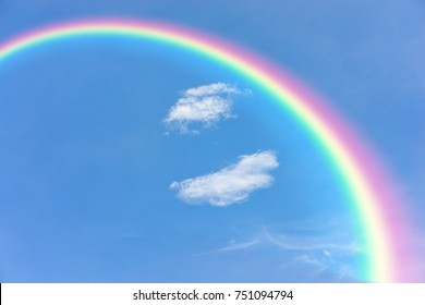 Natural rainbow and blue sky background