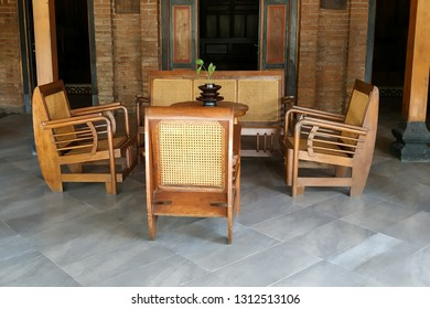 natural rattan wooden furniture in the javanese wooden house guest room