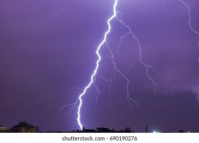 Natural real lightning over the city