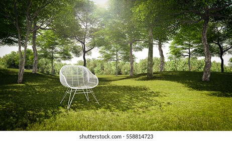 Natural relaxing in forest - 3d Rendering