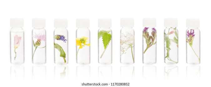 Natural remedies - FLORITERAPIA Bacha. Essential oil, medical bottles floriterapia.