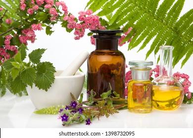 Natural remedies - fresh herbs. Natural medicines, aromatherapy - bach.